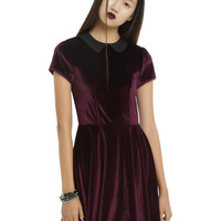Fig & Black Peter Pan Collar Velvet Dress