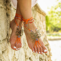 Hippie beaded barefoot sandals Gypsy shoes Bare foot jewelry Yoga footless sandles Bottomless sandals Beach wedding soleless sandal Anklets