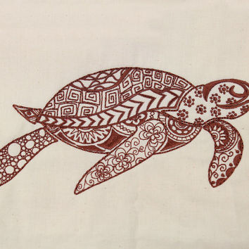 Quilt Block, Machine Embroidered, Brown Sea Turtle on Natural Kona Cotton, Zentangle style, Made to Order, your choice of fabric and thread.