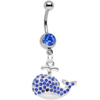 Navy Blue Gem Wear Me Out Whale Dangle Belly Ring