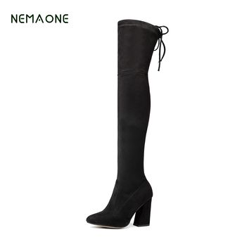 NEMAONE Women Stretch Suede Over the Knee Boots Thigh High Boots Sexy Fashion Plus Size High Heels Shoes Woman 2017 Black Brown