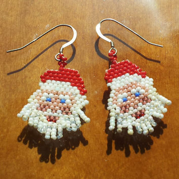 Handmade peyote stitch Santa Claus seed bead and sterling silver earrings