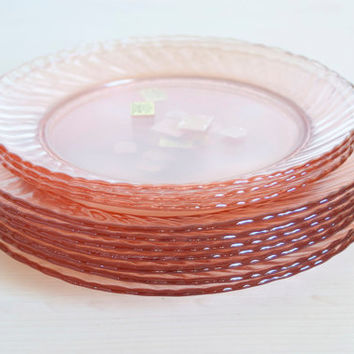 UNUSED Arcoroc France Rosaline Plates, Pink Swirl Salad Plate Luncheon Plate, French Glass, 10 Pieces