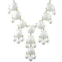 Jane Stone White Bubble Necklace Chunky Necklace Statement Necklace (Fn0508- Pure White)
