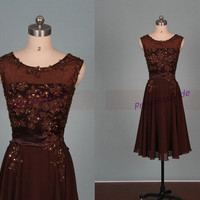 Dark coffee chiffon bridesmaid dresses with lace,chic tea length gowns for prom party,2014 cheap bridesmand dress under 150.