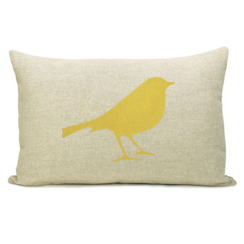 Yellow Bird Print 12 x 18 inch Cushion Cover on by ClassicByNature