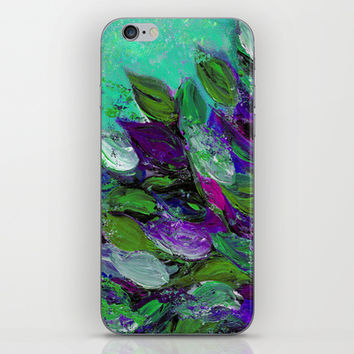 BLOOMING BEAUTIFUL 1 - Floral Painting Mint Green Seafoam Purple White Leaves Petals Summer Flowers iPhone & iPod Skin by EbiEmporium