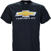 Chevy Chevrolet Photographic Chrome Logo on a Black T Shirt