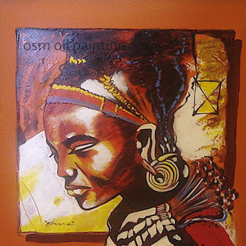 Top Hand-painted African Painting by Number Oil Painting on Canvas Handmade Wall Art Painting Hang Pictures Craft for Home Decor