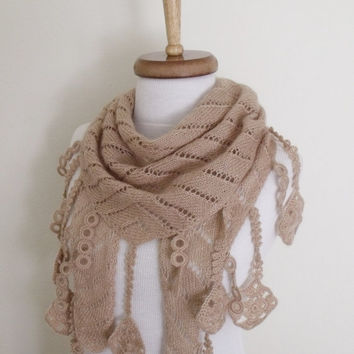 Milk Brown  Scarf Shawl -Lace Edge-Ready for shipping
