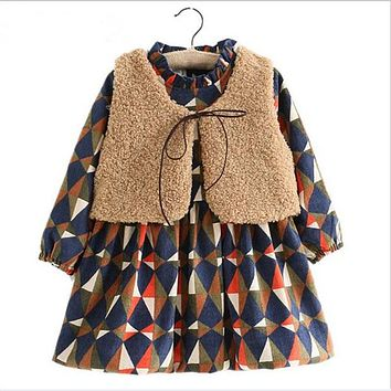 Girls Kids Clothes Diamond Plaid Thick Children Clothing Fashion Lamb's Wool Fur Vest + Girls Dress Clothing Sets Costume