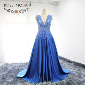 Rose Moda Sexy V Neck Blue Floor Length Prom Dress Formal Lace Prom Dresses See Through Back Party Dress for Xmas 2018
