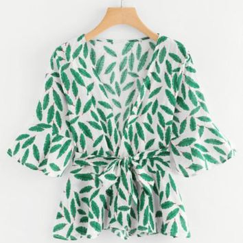 Leaf Print Self Tie Waist Top