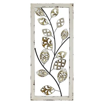 Stratton Home Decor Metallic Tree Vine II Panel Wall Decor (White)