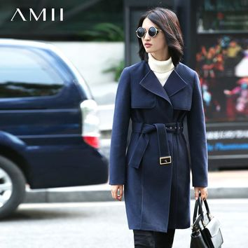 Amii Casual Women Woolen Coat 2018 Winter Wide-waisted Double Breasted Adjustable Waist Female Wool Blends