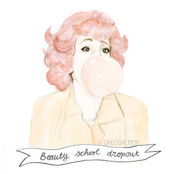 Frenchy from Grease watercolour portrait PRINT Didi by ohgoshCindy