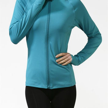 Women Solid Colors Athletic Yoga Track Running Workout Zip Top Sports Jacket