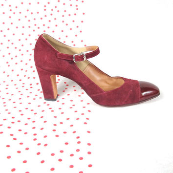 70s Red Leather Mary Janes Heels Red Suede Pumps Cap Toe Ankle Strap Heels Flapper Style Heels Narrow Chunky Heels (Size 7 AA Narrow)