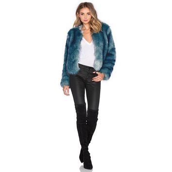 PLT BLUE FAUX FUR COAT