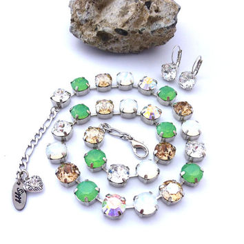 Key Lime Swarovski Crystal and 47ss (11mm) Chunky Crystal Chaton Necklace, Mint Green Opals, White Opals, Clear, Golden Shadow, AB