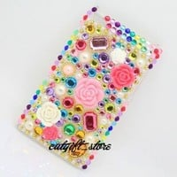 Bling Diamond Colorful Flowers Hard Case Cover Skin for Apple Ipod Touch 4 4g Itouch 4 4g 4th with Protective Film