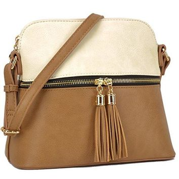 DASEIN Lightweight Medium Crossbody Bags Handbags Cute Purses with Tassel