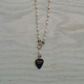 Guitar Pick Jewelry by Betsy's Jewelry - Necklace - Rocker - Modern- Western Styles - Guitar Pick Necklace - Long Statement Necklace