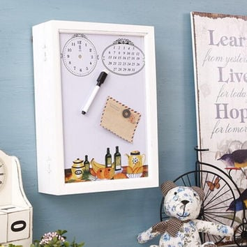 Wood White Message Board Home Wall Decor Electricity Meter Box Cover Hiding Box