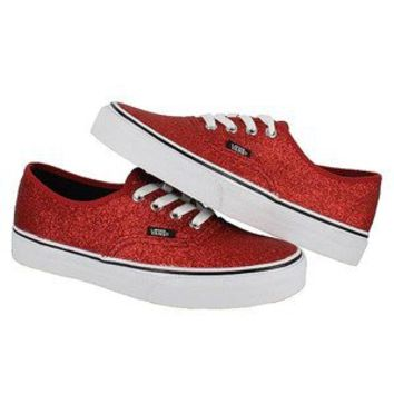 Vans Womens Authentic Shiny Glitter Red from shoebies on eBay bb1b9a9047