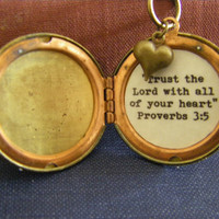 Proverbs 3:5 Trust in the Lord with all of your heart locket necklace compass heart vintage brass gift for her