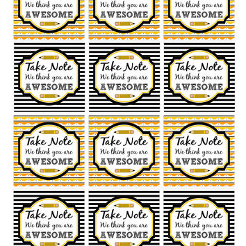 Take Note Teacher Appreciation Gift Tags