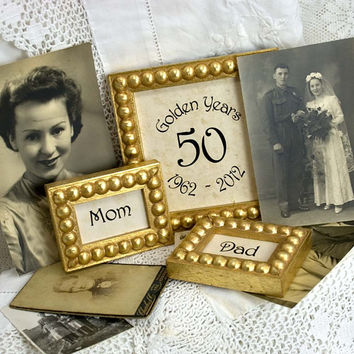 3 Golden Wedding Customizable Anniversary Frame Set 50 Golden Years Mom and Dad