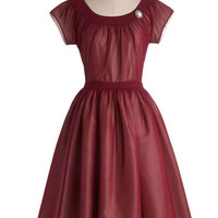 ModCloth Vintage Inspired Long Cap Sleeves Fit & Flare Old-Fashioned Fanfare Dress