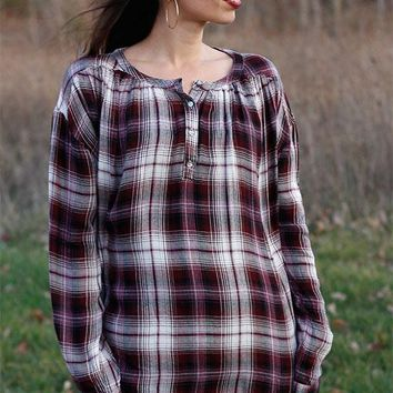 Plaid roll up sleeve top with pleated back - plum