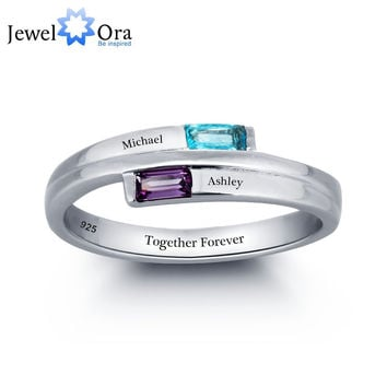 PERSONALIZED ENGRAVED NAMES BIRTHSTONE JEWELRY 925 STERLING SILVER CUBIC ZIRCONIA RING FREE GIFT BOX (JEWELORA RI101782)