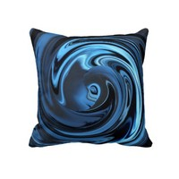 Abstract Face of Innocence in Blue Throw Pillow from Zazzle.com