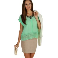 Mint To Be Crochet Hem Blouse