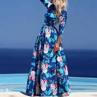 Floral Print Long Sleeve Pleated A-Line Maxi Dress