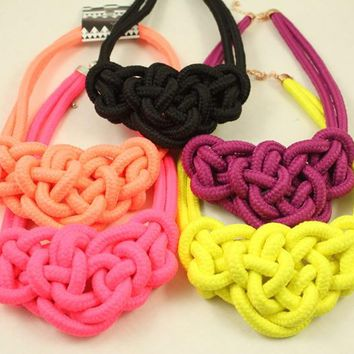New fashion Cotton necklaces costume items neon Chunky choker shourouk Statement necklace Women jewelry Accessories