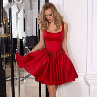 Vestido Cocktail Dresses 2017 Red Satin A Line Short Scoop Party Dress Big Bow Flowers cocktail Short Gowns Custom Made