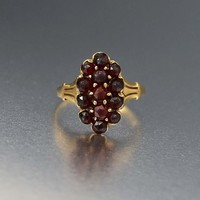 Antique 12K Gold Bohemian Garnet Ring C 1880s