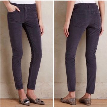 Anthropologie Pilcro Gray Serif Cord Leggings