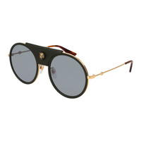 Gucci Round Web Sunglasses w/ Leather Trim, Gold/Black