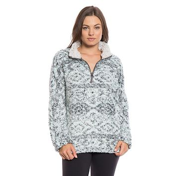 Tribal Frosty Tipped Women's Stadium Pullover in Aqua by True Grit (Dylan) - FINAL SALE