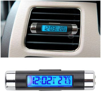 New 2 in1 Car Auto LCD Clip-on Digital Backlight Automotive Thermometer Clock Calendar automotive digital car clock HOT