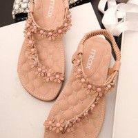 Cute Flowers Embellished Flat Sandals E060511