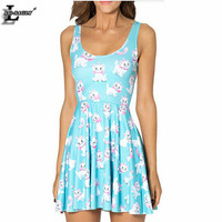 2016 Summer Style Kawaii Cat Vestidos Sleeveless Loose Youth Clothing Lady Sexy Slim Elegant Casual Skater Dresses BL-479
