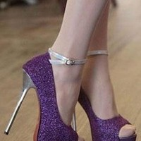 Ladies Fashion Peeptoe High Heel Ankle Strap Shoes In PURPLE from NaomiShu