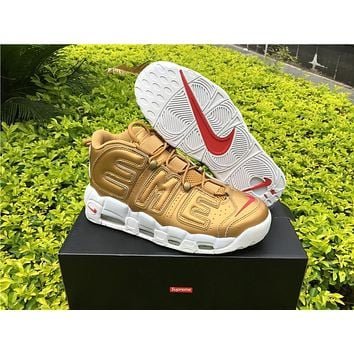 Supreme X Nike Air More Uptempo Big R Scottie Pippen Gold Basketball Shoes - Beauty Ticks