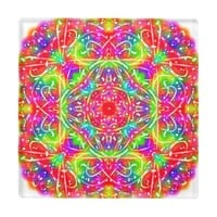 Sangria Square Mandala Glass Coaster